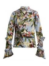 ERDEM Louella light-blue Facette Dream Bird-print silk blouse ~ ruffle sleeve high neck tops