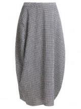 JIL SANDER Low-rise navy and white gingham midi skirt