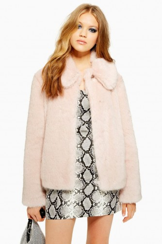 TOPSHOP Luxe Faux Fur Coat in Pink