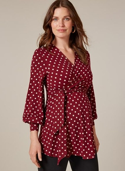 ISABELLA OLIVER LYDIA MATERNITY BELL SLEEVE BLOUSE in Wine & White Polka – red spot print wrap style pregnancy top - flipped