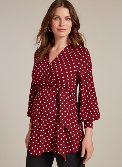 ISABELLA OLIVER LYDIA MATERNITY BELL SLEEVE BLOUSE in Wine & White Polka – red spot print wrap style pregnancy top