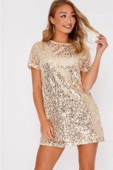 IN THE STYLE MADELINE GOLD SEQUIN T SHIRT DRESS – shimmery tee dresses