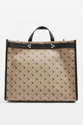 TOPSHOP Madrid Monochrome Tote Bag in beige / embellished handbags