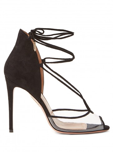 AQUAZZURA Magic 105 peep-toe black suede sandals ~ PVC panel stiletto heels