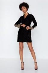 NASTY GAL Magic Touch Velvet Blazer Dress in Black – embellished sleeves