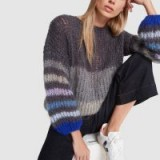 Maiami STRIPED MOHAIR SWEATERBLOUSE in Grey Combination | balloon sleeve crew neck knit