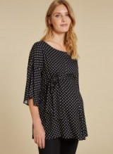 ISABELLA OLIVER MARGOT MATERNITY BLOUSE in Black & White Polka Crepe – feminine pregnancy wear