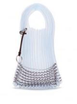 JIL SANDER Market small embellished net tote bag in pale-blue