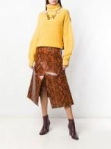 MARNI brown snake print A-line midi skirt in cigar