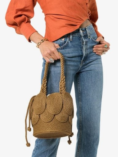 MEHRY MU sand brown Chacha Shell rope shoulder bag