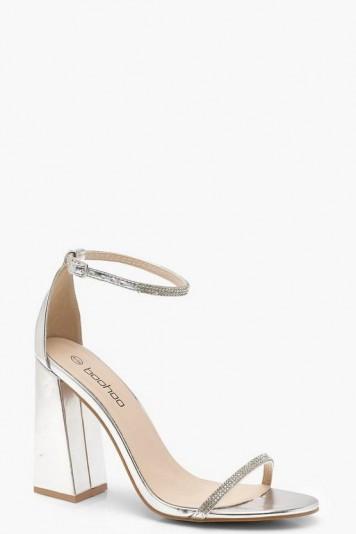 boohoo Metallic Block Heel Diamante 2 Part Heels in Silver | party shoes