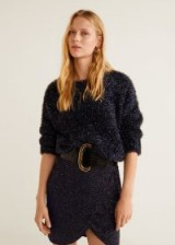 MANGO Metallic finish sweater in night blue – PARTY | sparkly jumpers
