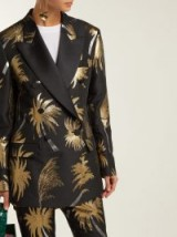 MSGM Metallic jacquard double-breasted tuxedo jacket in black