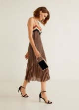MANGO Metallic striped dress in copper | strappy party dresses