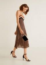 MANGO Metallic striped dress in copper | strappy party dresses