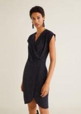 MANGO Metallic thread dress in blue – BRILLI | wrap style party frock