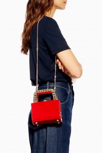 Topshop Mia Metal Handle Mini Bag in red | small top handle bags