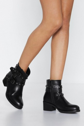 NASTY GAL Midnight Rider Faux Leather Boot in black – chunky buckle boots