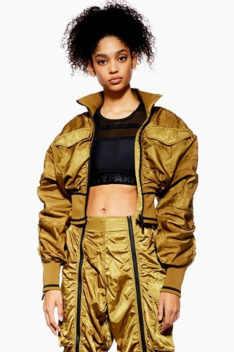 Ivy Park Military Corset Bomber Jacket in Khaki | cropped jackets