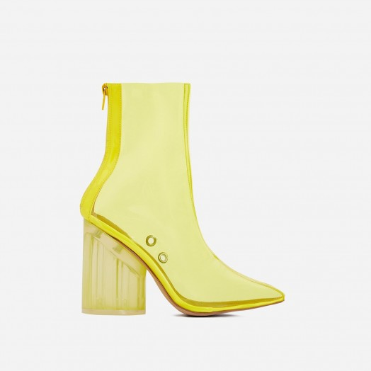 EGO Mimi Perspex Block Heel Pointed Ankle Sock Boot In Neon Yellow – clear retro boots