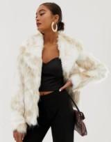 Miss Selfridge faux fur jacket in cream   luxe style winter coats