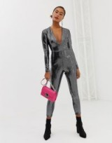 Miss Selfridge sequin catsuit in silver – party glamour – fitted crop leg jumpsuit
