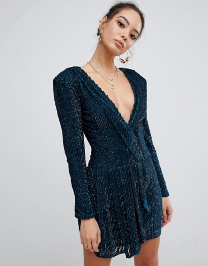 Missguided Peace & Love embellished plunge wrap dress in teal | glittering party frock
