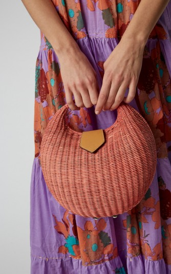 KAYU Elena Leather-Trimmed Pink Straw Tote