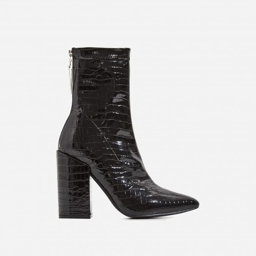 EGO Monica Triangle Zip Detail Black Heel Ankle Boot In Black Croc Print Patent – embossed chunky heeled boots