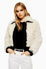 Topshop Monochrome Shearling Jacket in Cream | fluffy bomber