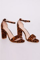 IN THE STYLE MORGAN LEOPARD PRINT FAUX SUEDE ANKLE STRAP BARELY THERE BLOCK HEELS