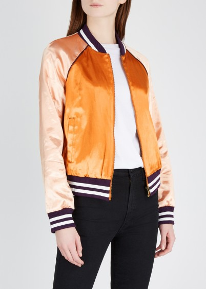 MOTHER Bronze satin bomber jacket – casual luxe