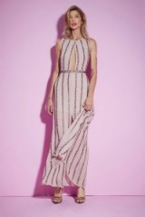 Nasty Gal Studio All Night Long Beaded Dress in Nude   long party dresses   deep keyhole front