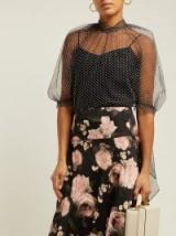 ERDEM Nayla black polka-dot tulle blouse ~ feminine semi sheer top