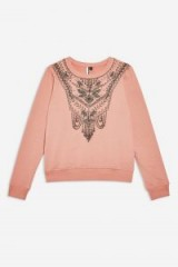 TOPSHOP Necklace Embellished Sweatshirt in Rose – pink statement sweat top