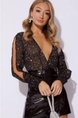 IN THE STYLE NIA BLACK STAR PRINT CHIFFON BODYSUIT – glamorous split sleeve party top