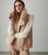 REISS NIA REVERSIBLE SHEARLING GILET NEUTRAL ~ luxe gilets ~ sleeveless jackets