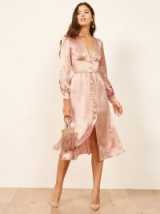 Reformation Nicola Dress in Blush | luxe silky party frock