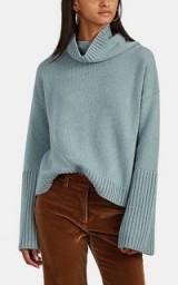 NILI LOTAN Boyd Blue Cashmere Turtleneck Sweater