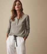 REISS NISHA WOOL BLEND KNITTED JUMPER GREY ~ essential knitwear