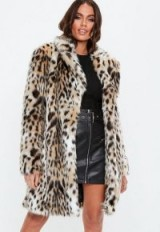 MISSGUIDED nude leopard print faux fur coat – glamorous winter coats