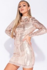 PARISIAN NUDE SEQUIN HIGH NECK LONG SLEEVE BODYCON MINI DRESS | sequinned party glamour