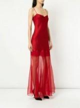 OLIVIER THEYSKENS red plunge neck slip dress   semi sheer strappy fashion