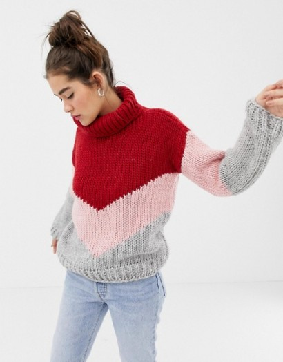 OneOn hand knitted colourblock jumper in Red Pink Grey | multicouloured knits