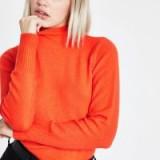 River Island Orange turtle neck knit jumper | bright knitwear