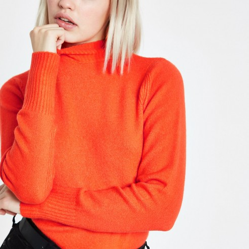 River Island Orange turtle neck knit jumper | bright knitwear