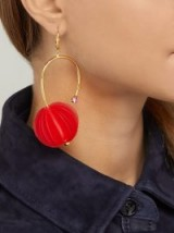 MARNI Red origami and strass pistil earrings