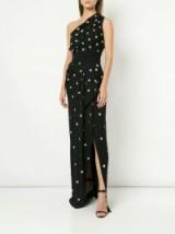 OSCAR DE LA RENTA black one shoulder silver-tone polka dot dress ~ event glamour