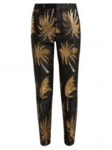 MSGM Palm Tree metallic-jacquard satin trousers in black