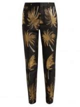 MSGM Palm Tree metallic-jacquard satin trousers in black